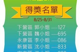里民提問第七週8/25-8/31得獎名單