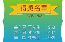 里民提問第十週9/15-9/21 得獎名單